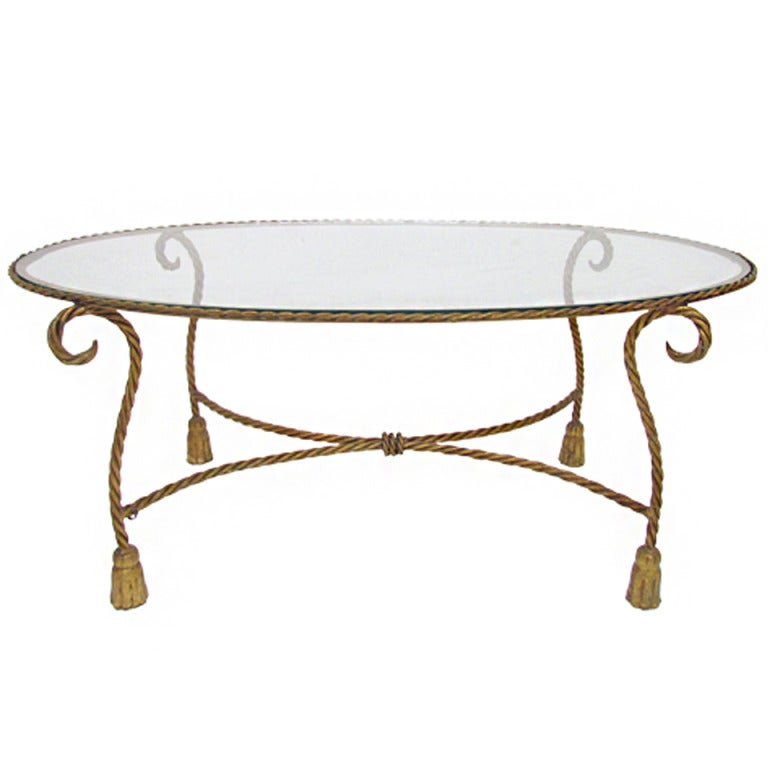 Hollywood regency style italian gilt metal rope and tassel coffee table at 1stdibs Tuscan style coffee table
