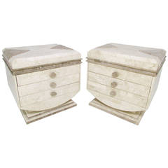 Robert Marcius for Casa Bique Tessellated Fossil Stone End Tables or Nightstands