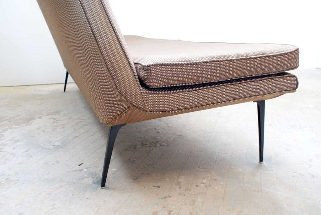 armless mid century modern sofa with tapered legs ca 1960s at 1stdibs. Black Bedroom Furniture Sets. Home Design Ideas