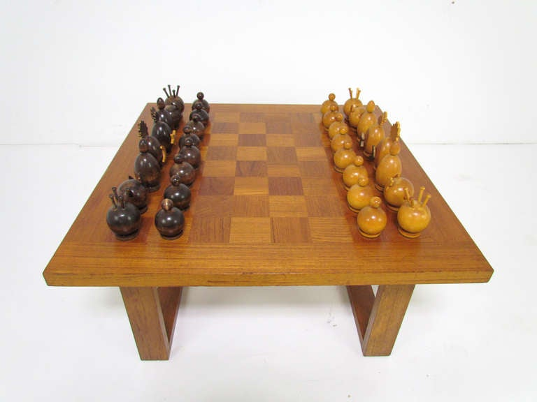 Danish Teak Checker Board Coffee Table By Cado With Carved Modernist Chess Set Image 3