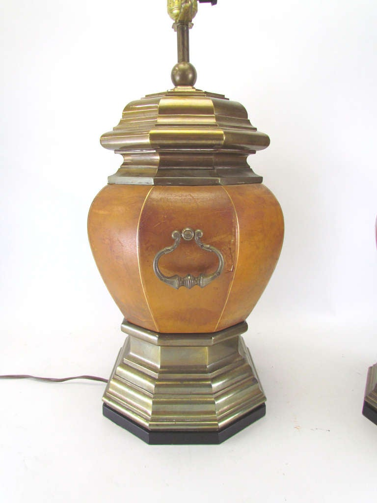Pair Of Embossed Leather And Brass Lamps With Gryphon