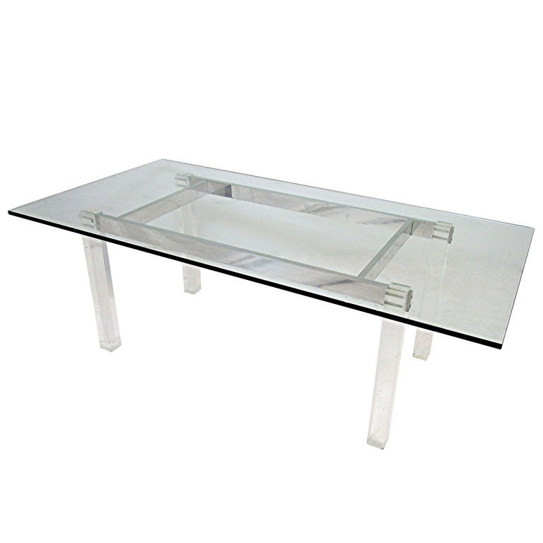 Sleek glass and polished aluminum dining table with lucite for Sleek dining room tables