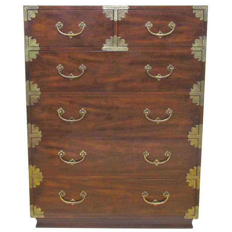 Asian Inspired Campaign Highboy Chest Of Drawers By Henredon At 1stdibs