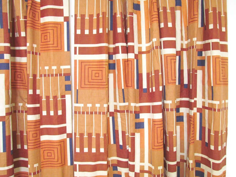 "Pair of Frank Lloyd Wright ""Taliesin Line"" Curtains ca. 1950s at 1stdibs"