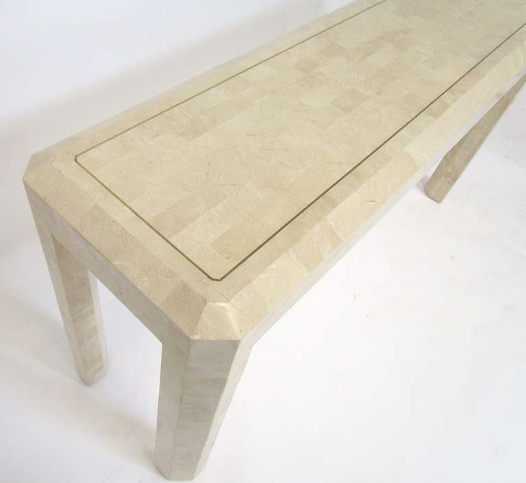 Tessellated Fossil Stone Console Table by Maitland Smith For Sale at ...