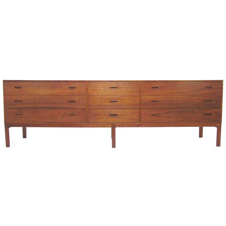 Extra Long Danish Teak, Nine Drawer Dresser at 1stdibs