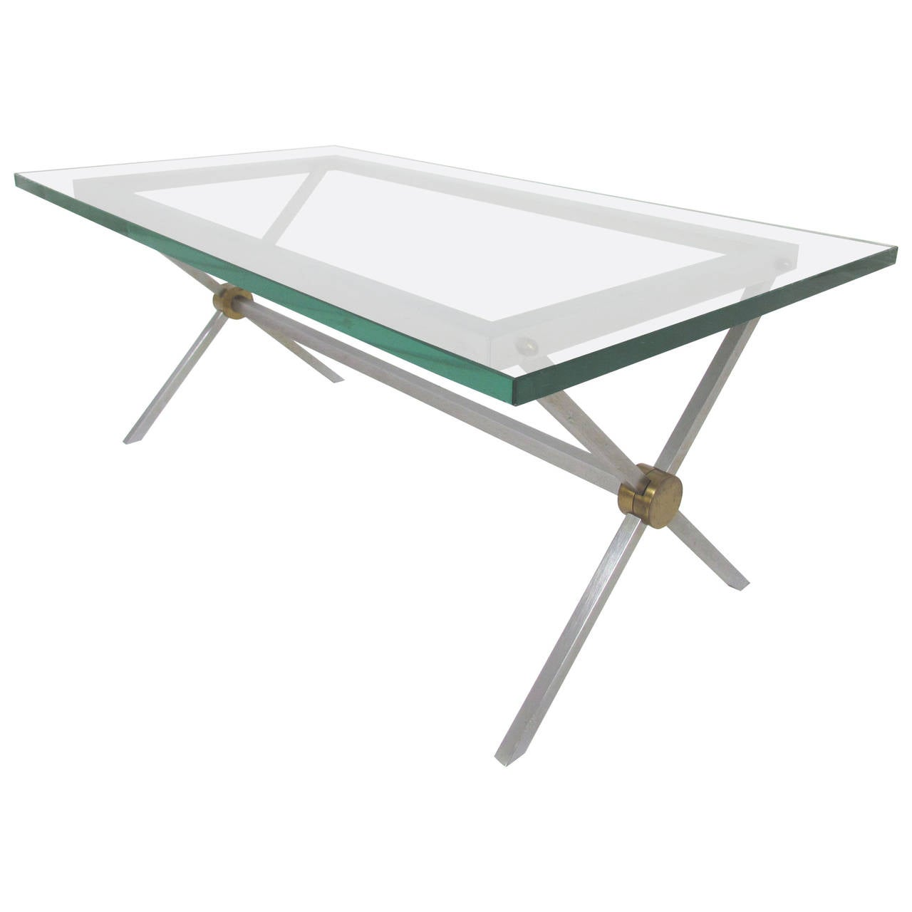 X Base Coffee Table In Brushed Steel Brass And Glass By John Vesey At 1stdibs