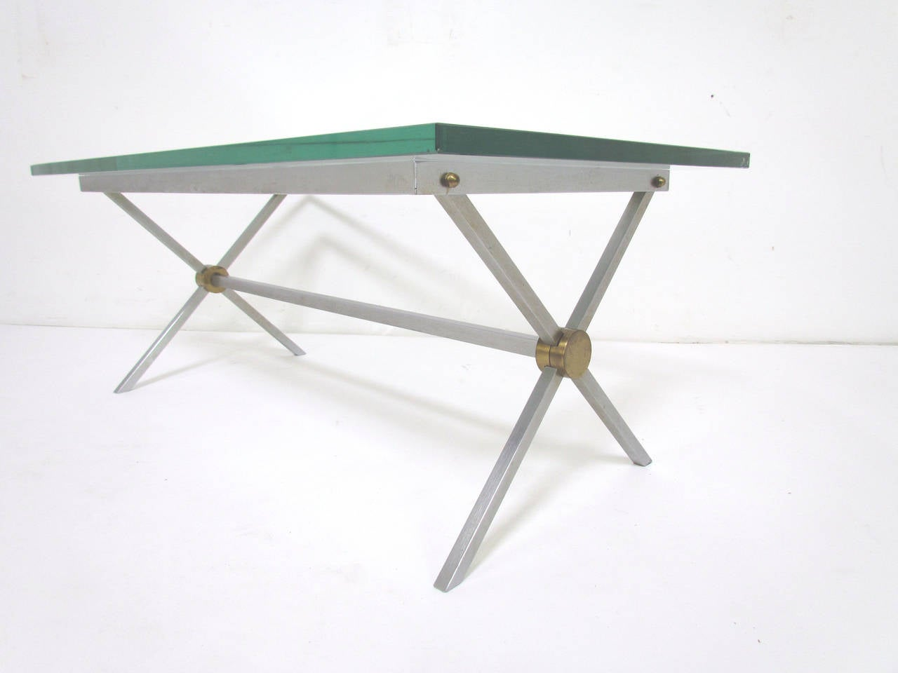 Base Coffee Table In Brushed Steel Brass And Glass By John Vesey At