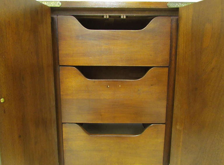 Asian Inspired Campaign Long Chest of Drawers by Henredon For Sale 3