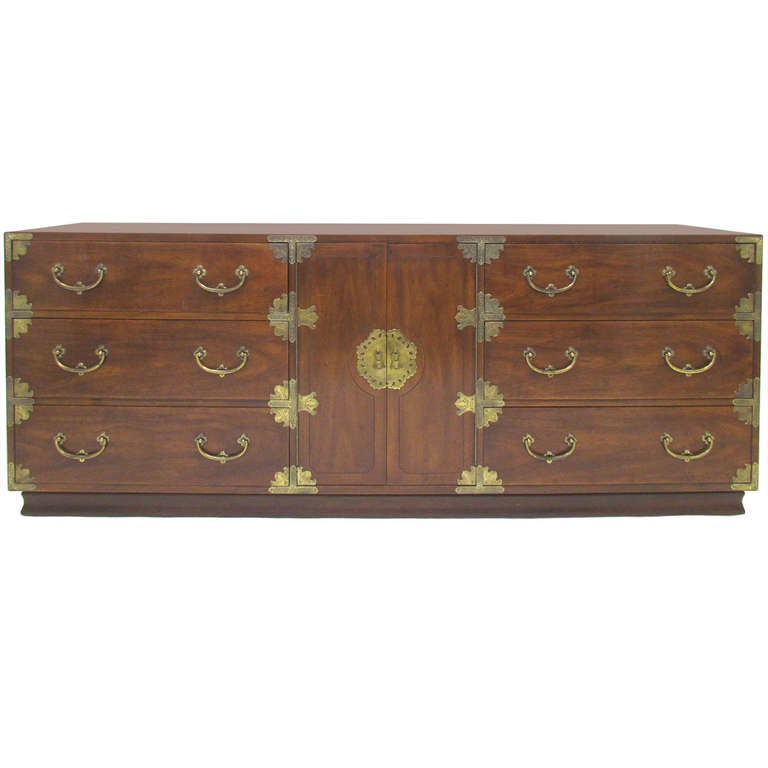Asian Inspired Campaign Long Chest of Drawers by Henredon For Sale