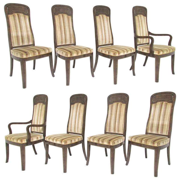 Exceptional Mastercraft Furniture For Sale #13: Set Of Eight High Back Amboyna Burl Dining Chairs By Doezema For Mastercraft 1
