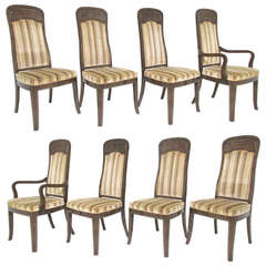 Set of Eight High Back Amboyna Burl Dining Chairs by Doezema for Mastercraft