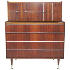 Scandinavian Mid-Century Dresser in Walnut and Aluminum by Edmond Spence