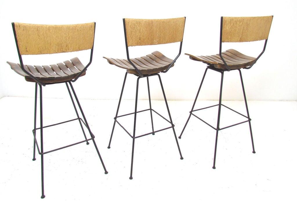 Set of Three Swivel Bar Stools by Arthur Umanoff for  : 888013134466325 from www.1stdibs.com size 1024 x 702 jpeg 64kB