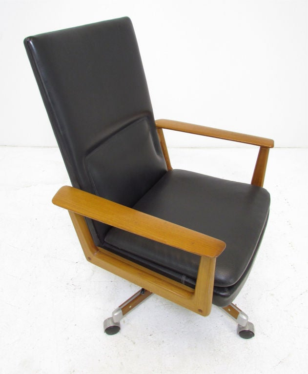 Danish Teak Executive Swivel Desk Chair By Arne Vodder At