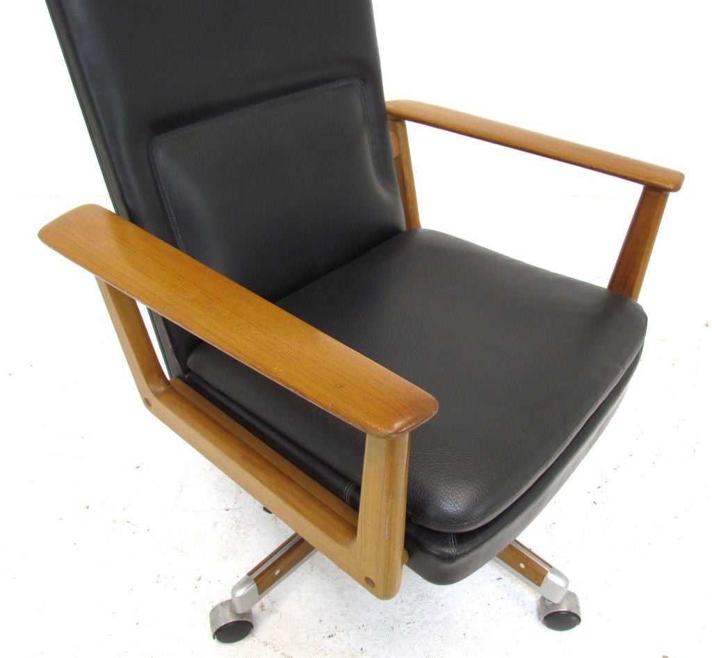 this danish teak executive swivel desk chair by arne vodder is no