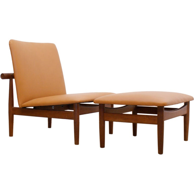 Danish Teak And Leather Lounge Chair And Ottoman By Finn Juhl At 1stdibs