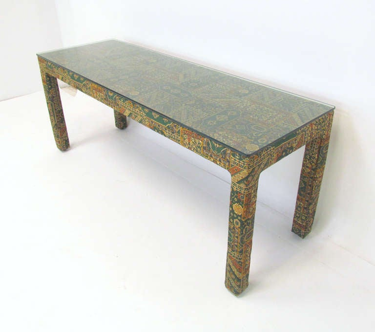 Parsons Style Console Table With Mirror In Indian Chintz