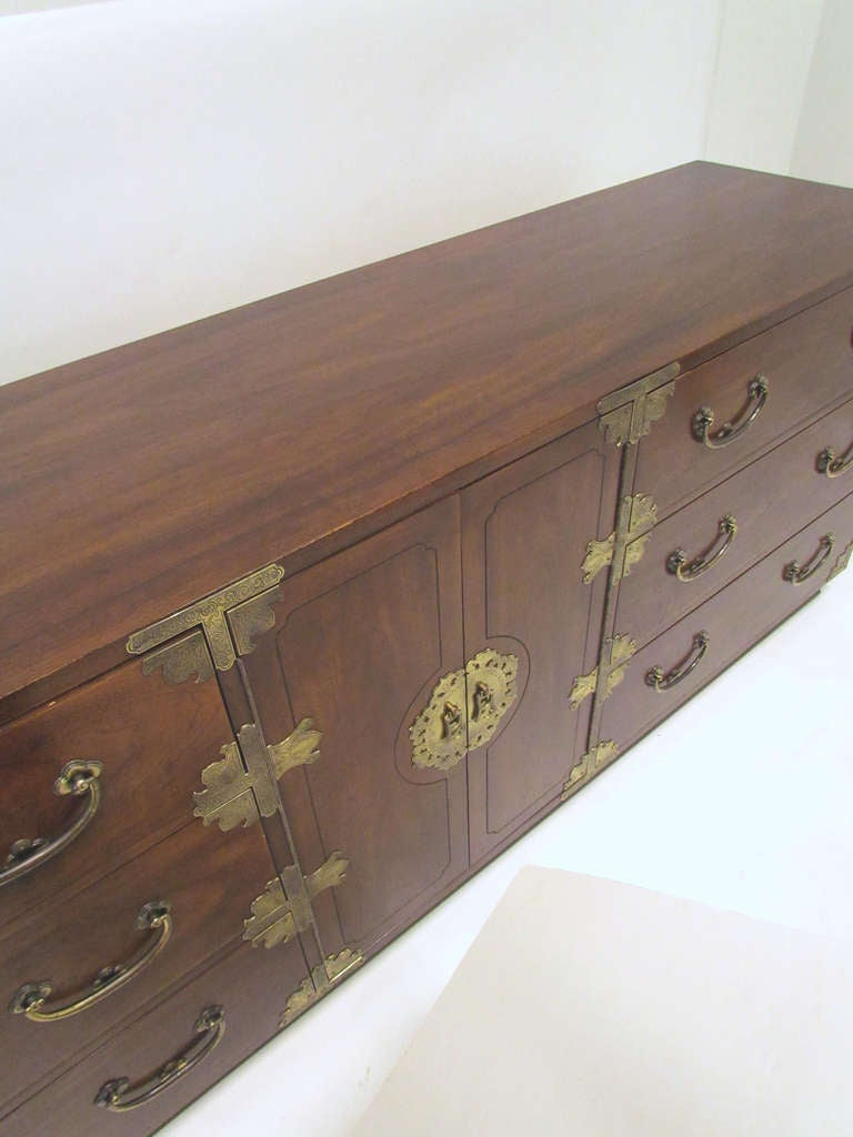 American Asian Inspired Campaign Long Chest of Drawers by Henredon For Sale