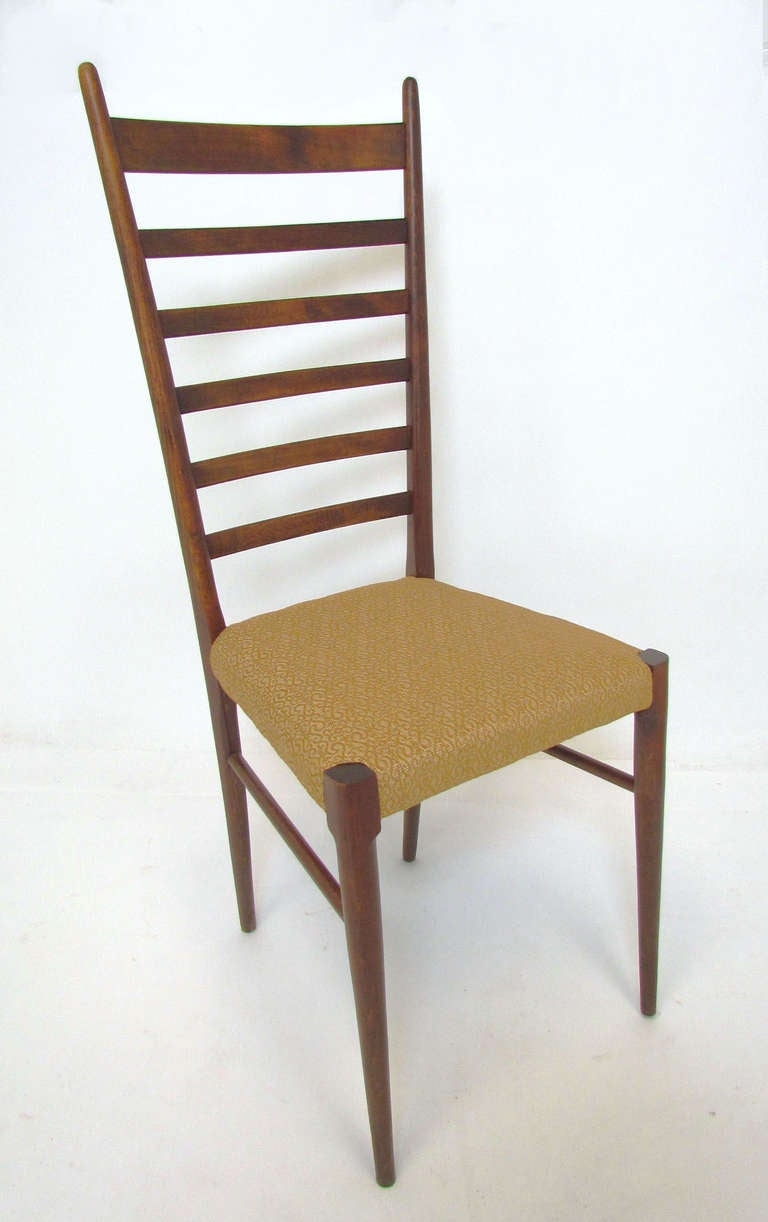 Set of four italian ladder back dining chairs in the style of gio ponti at 1stdibs - Ladder back dining room chairs ...
