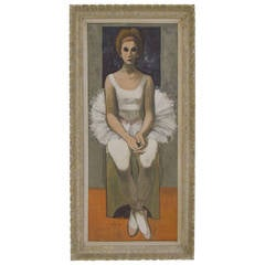 Full Length Painting on Canvas, Portrait of a Dancer, by Enzo Russo, 1962