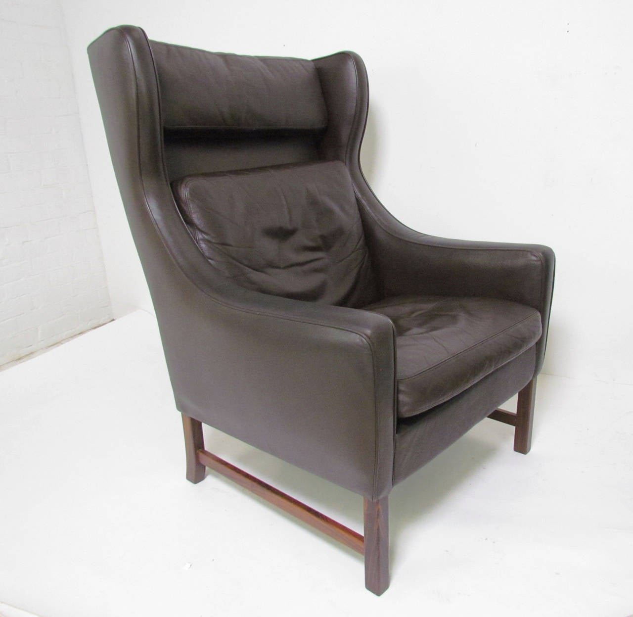 pair of danish modern wingback leather lounge chairs by fredrik  - pair of danish modern wingback leather lounge chairs by fredrik kayser forvatne