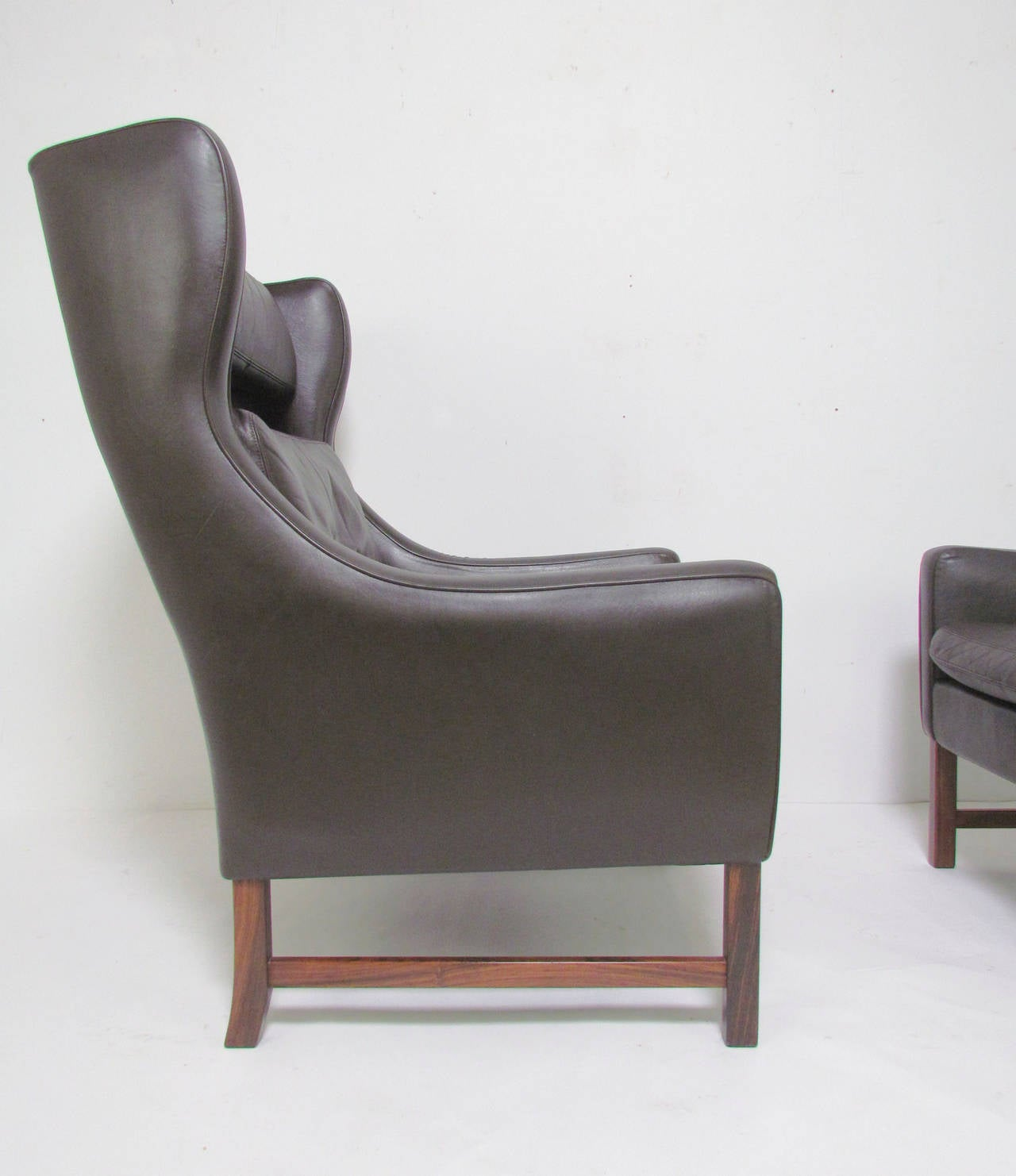 Danish modern wingback chair - Pair Of Danish Modern Wingback Leather Lounge Chairs By Fredrik Kayser For Vatne 3