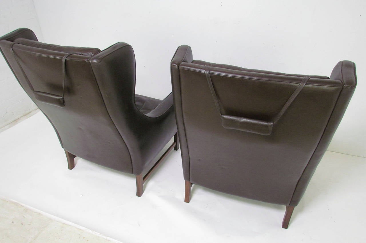 Pair of Danish Modern Wingback Leather Lounge Chairs by  : leatherloungevatne8l from www.1stdibs.com size 1280 x 852 jpeg 62kB