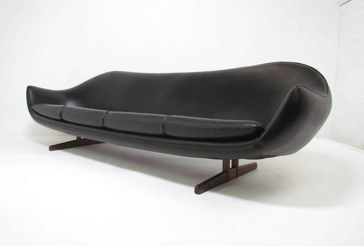 Space Age Danish Modern Sofa with Rosewood Legs by Fredrik ...