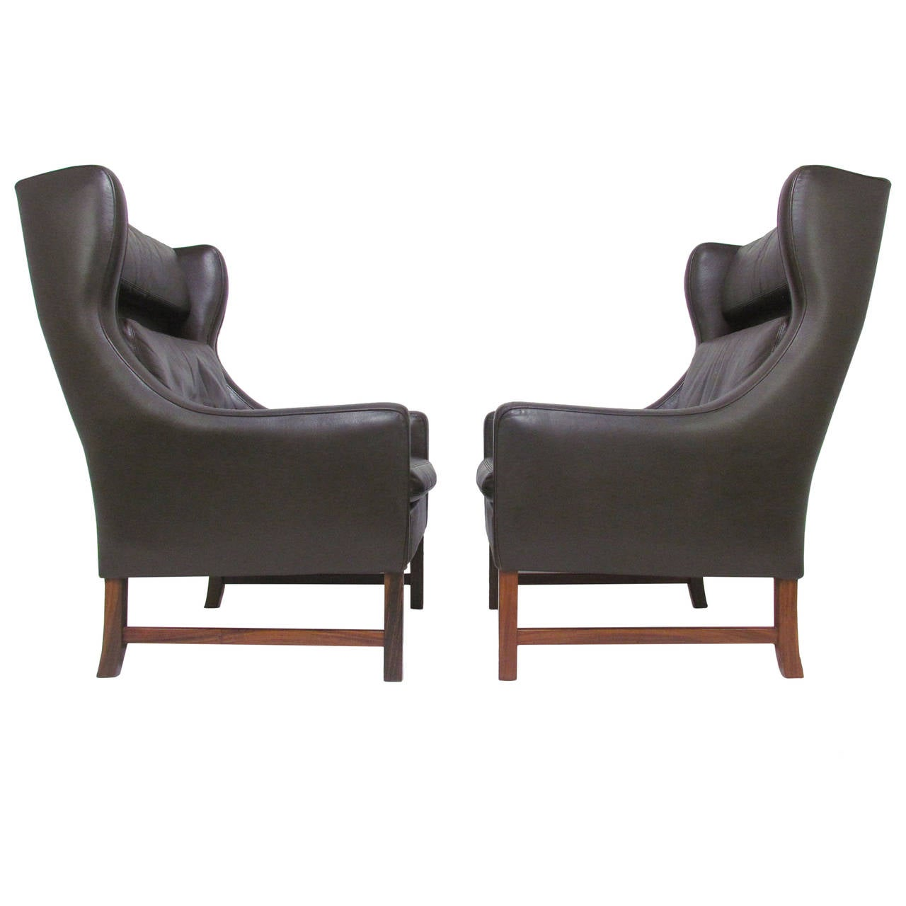Pair Of Danish Modern Wingback Leather Lounge Chairs By
