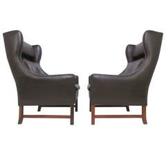 Pair of Danish Modern Wingback Leather Lounge Chairs by Fredrik Kayser for Vatne
