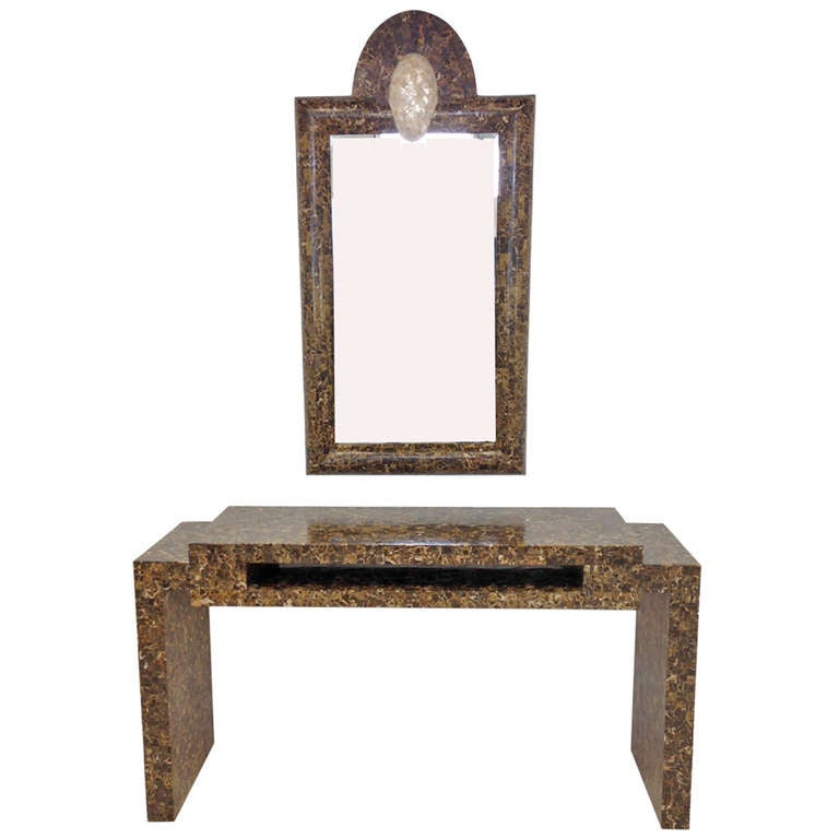 Tessellated Marble Console Table and Mirror Attributed to Enrique Garcel