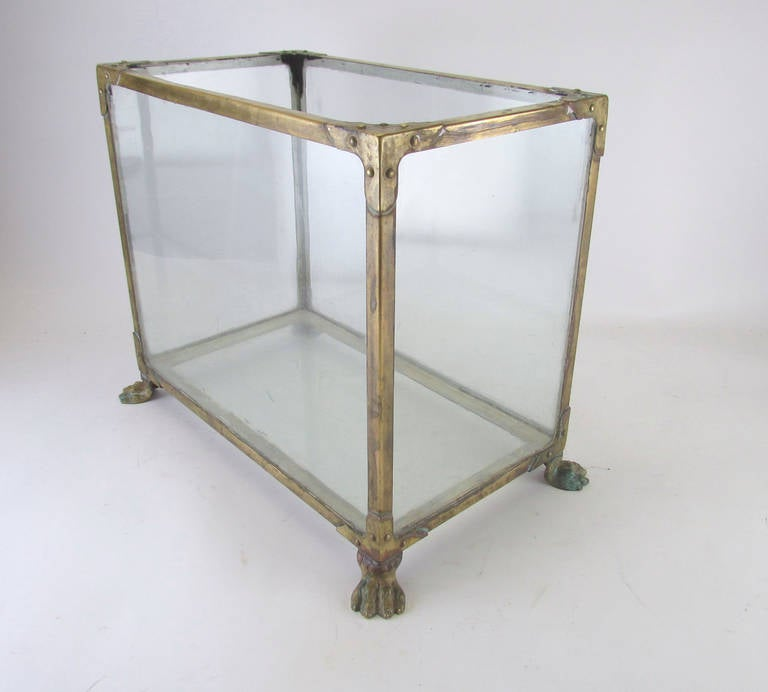 Early 20th Century Brass Fish Tank Or Aquarium With Claw Feet 2