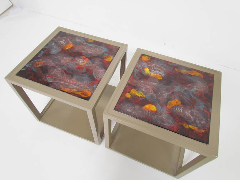 Mid-Century Modern Pair of End Tables with Tile Tops by Edward Wormley for Drexel Precedent For Sale