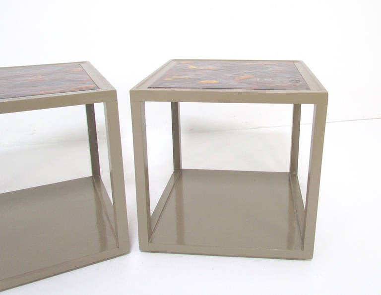 Pair of End Tables with Tile Tops by Edward Wormley for Drexel Precedent In Good Condition For Sale In Peabody, MA