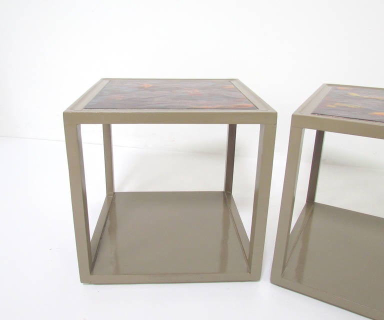 Mid-20th Century Pair of End Tables with Tile Tops by Edward Wormley for Drexel Precedent For Sale