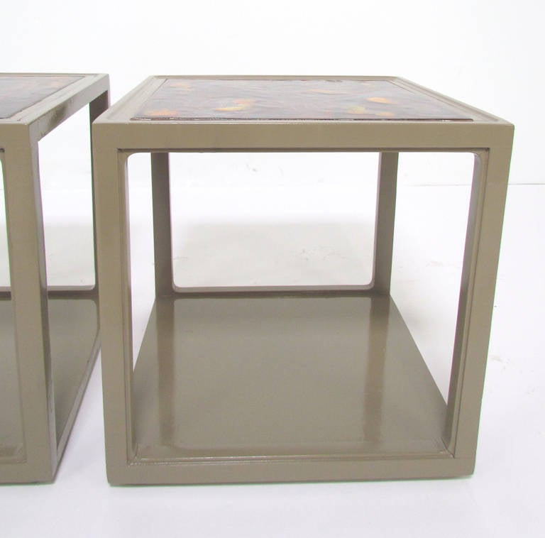 Pair of End Tables with Tile Tops by Edward Wormley for Drexel Precedent For Sale 1