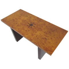 Inlaid Burl Wood and Macassar Bench or Occasional Table by Andrew Szoeke