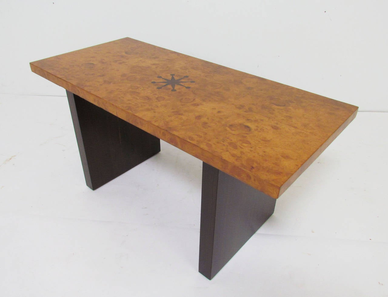 American Inlaid Burl Wood and Macassar Bench or Occasional Table by Andrew Szoeke For Sale