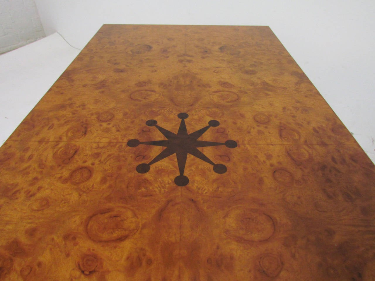 Mid-Century Modern Inlaid Burl Wood and Macassar Bench or Occasional Table by Andrew Szoeke For Sale