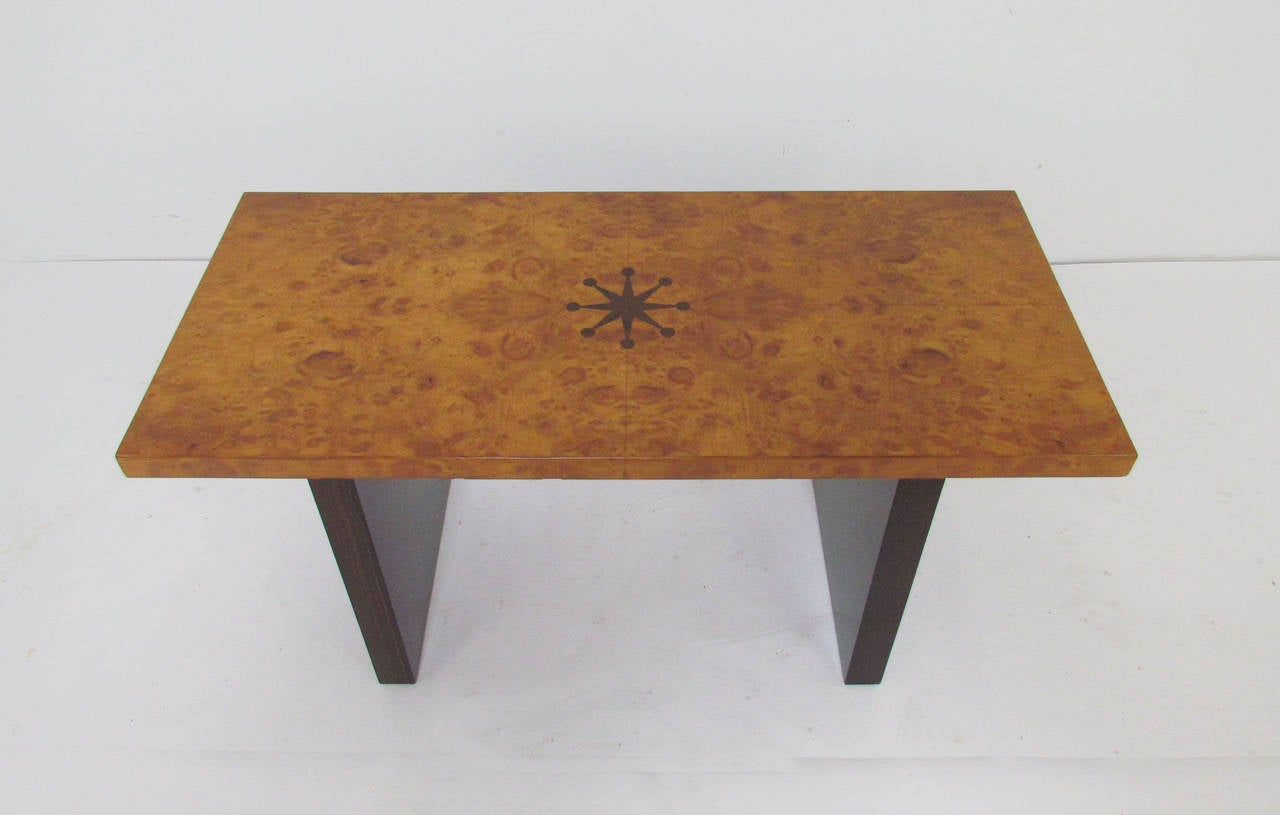 Burl wood bench with Macassar block legs and stylized compass inlay by noted Austrian-American designer Andrew Szoeke.