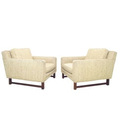 Pair of Box-Form Mid-Century Club Lounge Chairs with Teak Legs