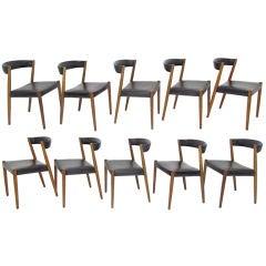 Set of Ten Ribbon-Back Danish Teak Dining Chairs ca. 1960s