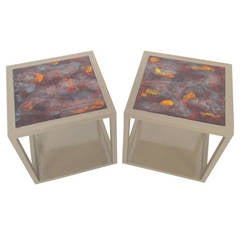 Pair of End Tables with Tile Tops by Edward Wormley for Drexel Precedent