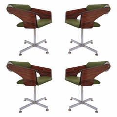 Set of Four Space Age Swivel Dining Chairs by Luigi Tiengo, circa 1960s