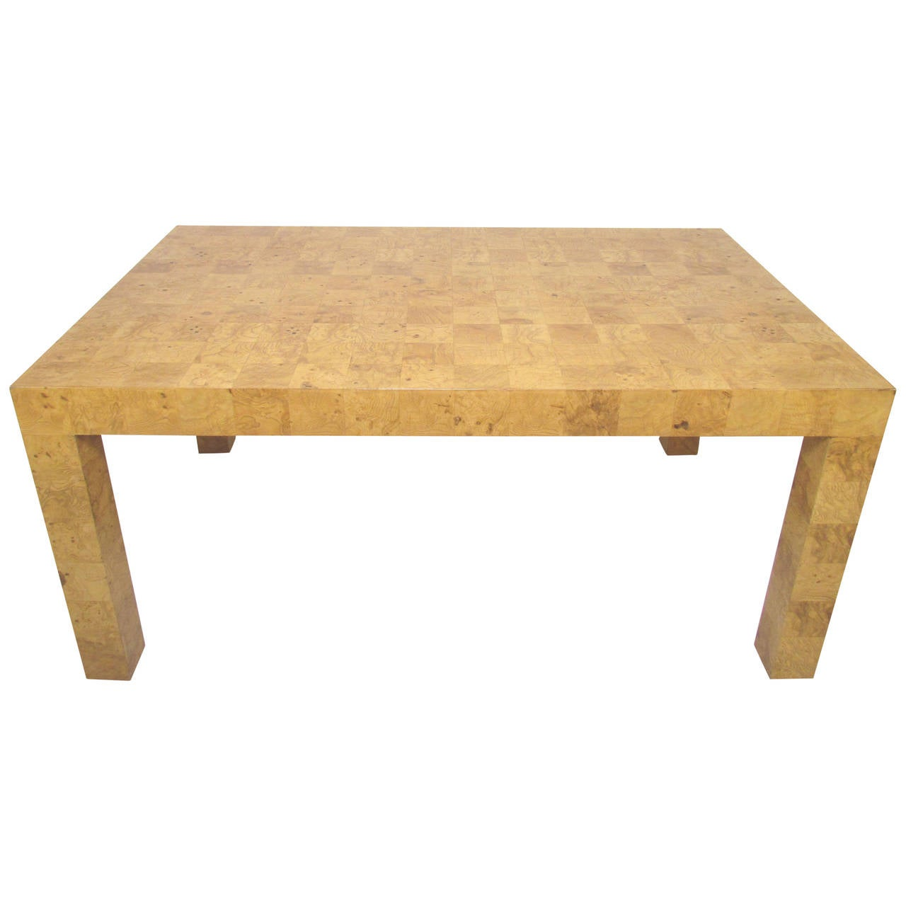 Patchwork Burl Wood Parsons Style Dining Table Or Desk By Milo