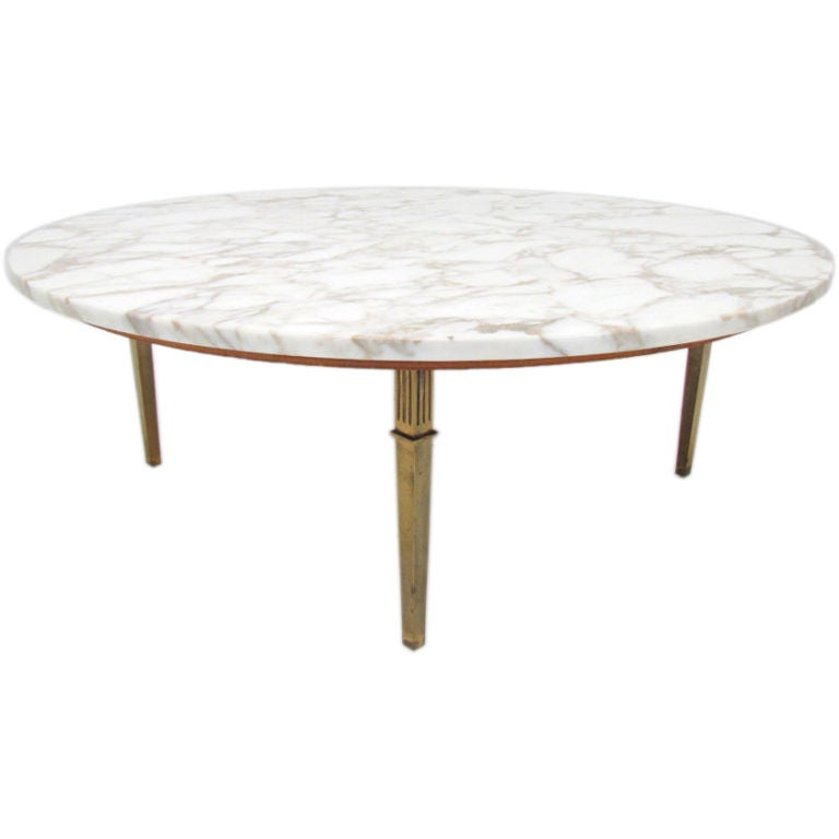 Mid-Century Coffee Table W/ Polished Marble Top And Brass