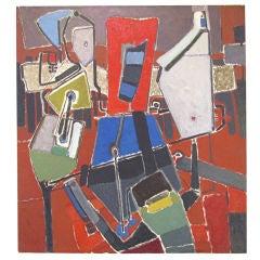Abstract Oil Painting by Listed Artist Ralph Gagnon ca. 1960s