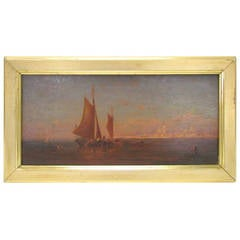 """19th Century Oil on Panel, """"View of Venice from the Lagoon"""""""