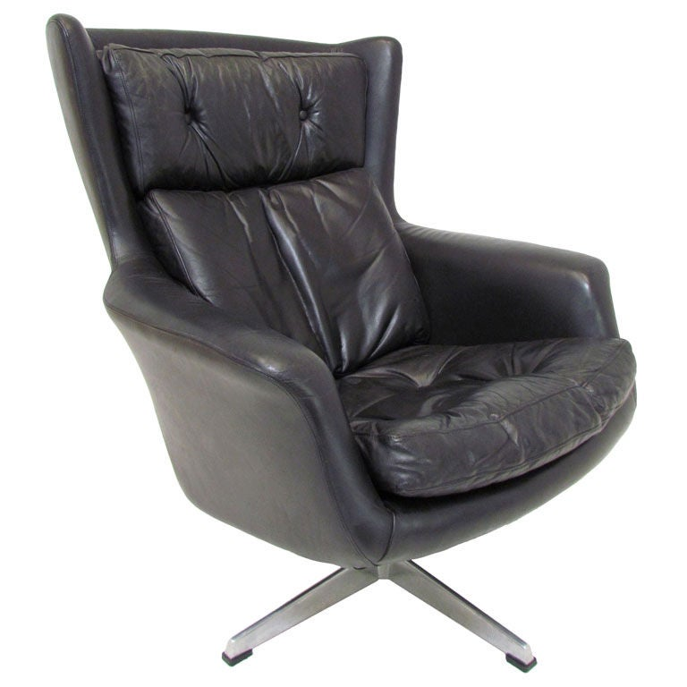 Danish Leather High Back Swivel Lounge Chair Ca. 1970s For Sale